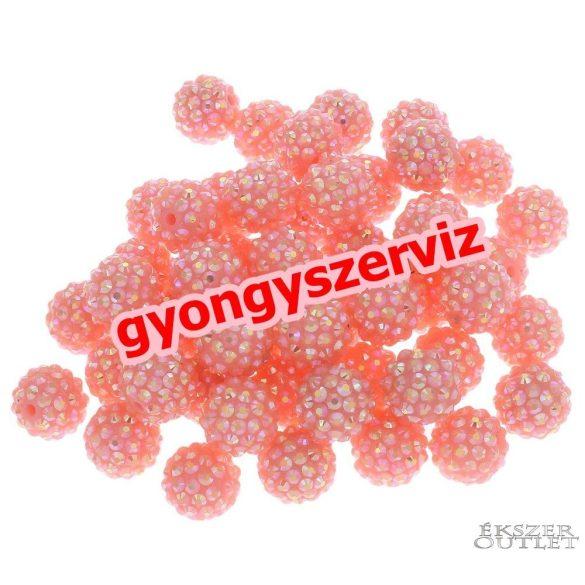 Műanyag shamballa gyöngy. 16mm. Rózsaszín. Leárazva!