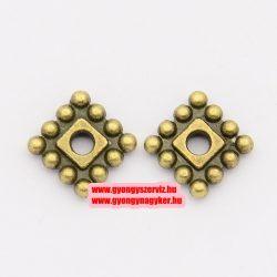 Négyzet, köztes fémgyöngy. 7mm. Antik bronz szín.