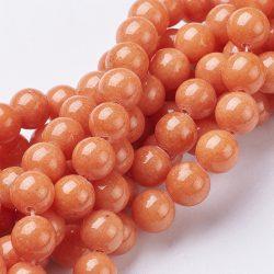 Jade ásványgyöngy. 8mm. Narancs. AAA.