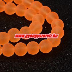 Matt üveggyöngy. 6, 8, 10mm. Neon narancs.