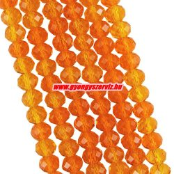 Csiszolt üveggyöngy, fánkgyöngy. 3x4mm. Narancs. 50db.