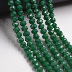 Csiszolt üveggyöngy. 10x8mm. Smaragd.
