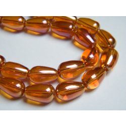 Aura üveggyöngy. Könnycsepp. Narancs. 8x13mm.