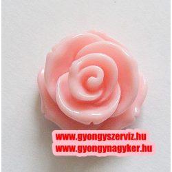 Ragsztható gyanta kaboson rózsa. 20mm. Rózsaszín.