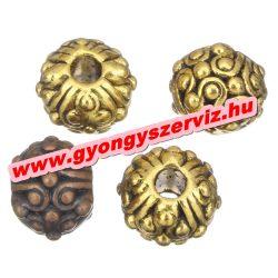 Golyó. 8x11mm. Antik réz, vagy antik arany színben. Fémgyöngy, köztes gyöngy.