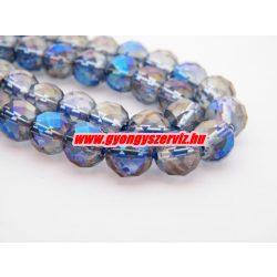 Csiszolt aurakvarc ásványgyöngy. 8mm. Kék.