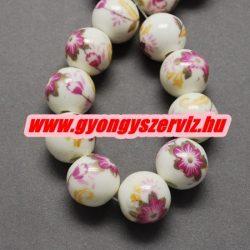 Porcelán ékszergyöngy. 10mm. Pink virág.