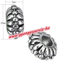Diszkosz. Fém köztes gyöngy. 5x10mm. Antik ezüst szín.