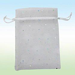 Organza tasak. 10x12cm. Ezüst pöttyös, fehér. Válassz mennyiséget!