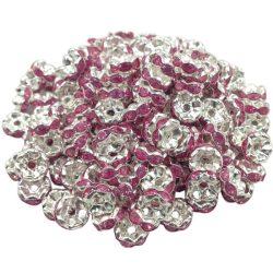 Strasszos fém köztes gyöngy. Rondell. Pink. 8x3.5mm. AAA