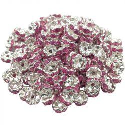 Strasszos fém köztes gyöngy. Rózsaszín. Rondell.  8x3.5mm.