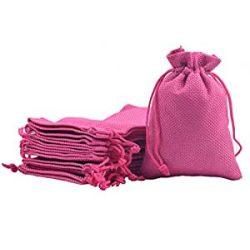 Len ékszer tasak. 10x13.5cm. Pink.