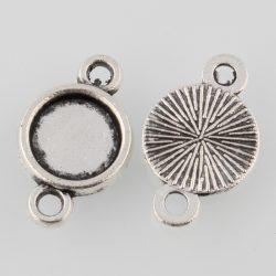Kaboson alap, összekötő elem,  8mm lencséhez. Antik ezüst szín.
