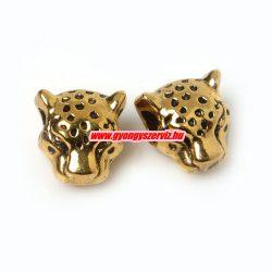 Leopárd fej köztes fémgyöngy. 12x11mm. Antik arany szín.