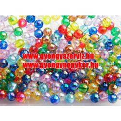 Műanyag gyöngy mix. 4mm. AB. 10g/csomag.
