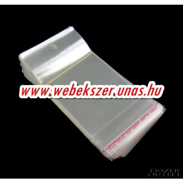 Ragasztócsíkos celofán zacskó.70x165mm. 1db, vagy 200db/csomag.