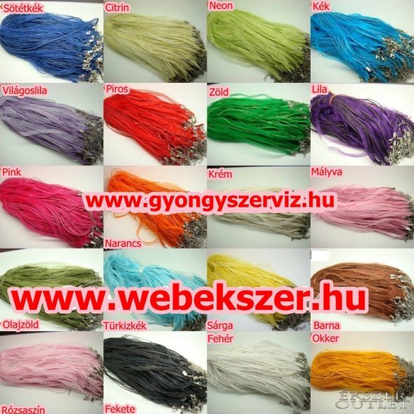 Organza nyaklánc. Nyaklánc alap. 4 szálas. 21 szín. Válassz színt!