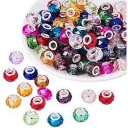 Pandora stílusú üveggyöngy. Csiszolt kristály. Mix. 10db/csomag.