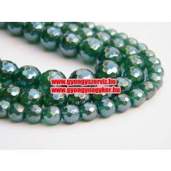 Csiszolt achát aura ásványgyöngy. smaragd szín. 6, 8, 10mm.