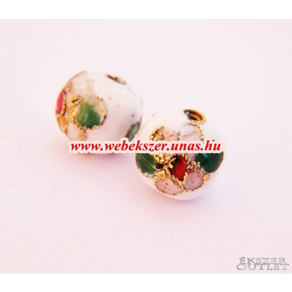Cloisonne gyöngy. Rekesztűzzománc gyöngy. 10mm. Fehér.