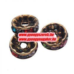 Rondell. Strasszos köztes gyöngy, rondella. 10x2mm. Antik bronz, szívárvány. AAA.