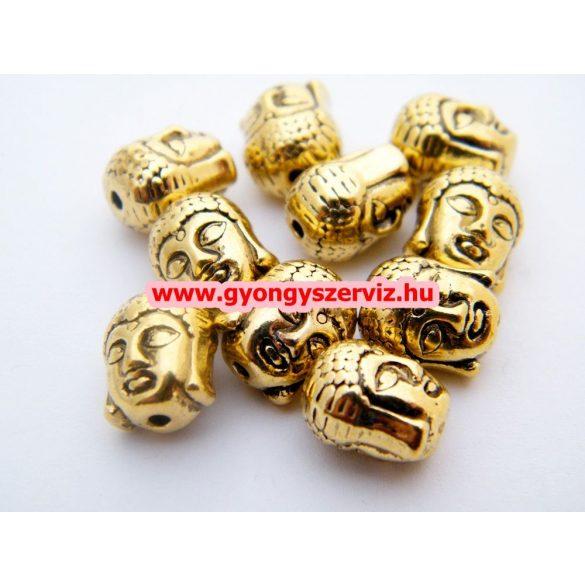 Fémgyöngy. Köztes gyöngy. Buddha. Antik arany szín.