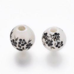 Porcelán ékszergyöngy. 10mm. Fekete virág. Mindig akcióban!