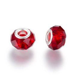 Pandora stílusú üveggyöngy. Csiszolt kristály. Piros.