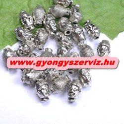 Buddha gyöngy, fém köztes gyöngy. 10x13mm. Antik ezüst szín.