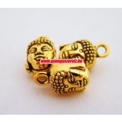 Buddha fej medál, fityegő. 9x8x15mm. Antik arany szín.