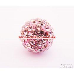 Shamballa gyöngy. Kristály gyöngy. 12mm. Rózsaszín. Mindig akcióban!