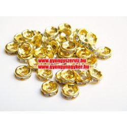 Strasszos fém köztes, rondell. 6x2.5mm. Egyenes arany.