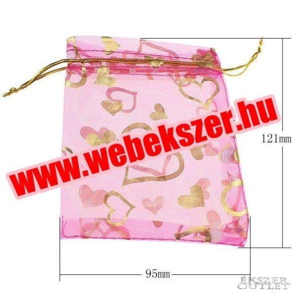 Organza tasak 9.5x12.1cm. Rózsaszín, szívecskés.