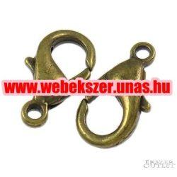 Delfin zár. Ékszer kapocs. 7x12x3.50mm. Antik bronz.    Alacsony ár !