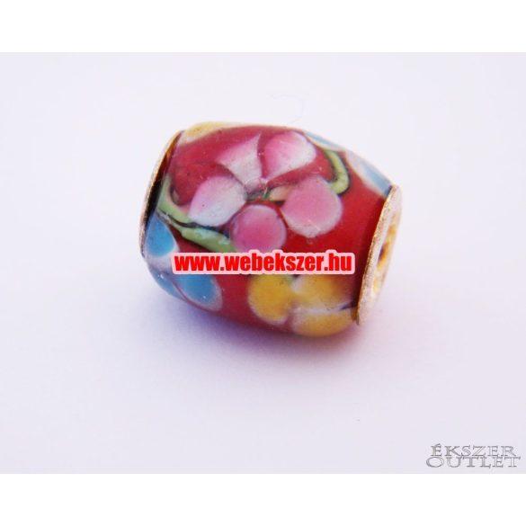 Pandora stílusú üveg gyöngy. Lámpagyöngy. Virág. 16x13mm. Leárazva!