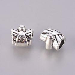 Pandora stílusú fémgyöngy. Szívecskés angyal. Antik ezüst szín.