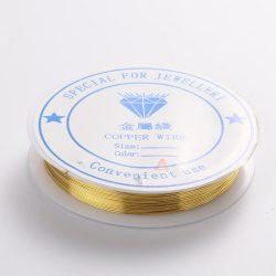 Réz ékszer drót. 0.4mm. 15m. Arany szín.
