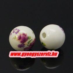 Porcelán ékszergyöngy. 12mm. Lilás virág. Mindig akcióban!