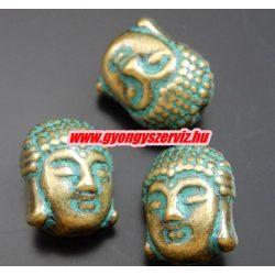 Buddha fej,fém köztes gyöngy. 11x8mm. Antik bronz, patina szín.