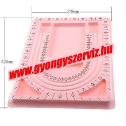 Gyöngyfűző tálca. 238x325mm. Rózsaszín.