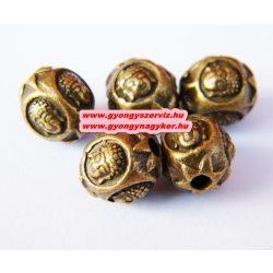 Fém köztes gyöngy, buddha fej gyöngy. 9.5x9mm. Antik bronz szín.