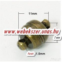 Mágneses kapocs. Antik bronz. 11x7mm.    Legjobb ár!
