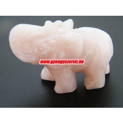Rózsakvarc ásvány elefánt.