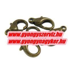 Delfinzár, ékszer kapocs. 14x8x4.5mm. Antik bronz szín.