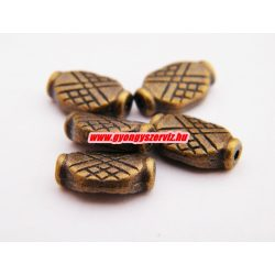 Fémgyöngy, fém köztes gyöngy. 12x7.5mm.  Antik bronz szín.