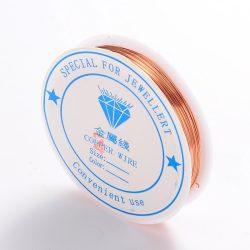 Réz ékszer drót. 0.4mm. 15m. Rózsaarany szín.