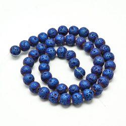 Matt, fémgőz bevonatos lávakő gyöngy. Kék. 8mm.