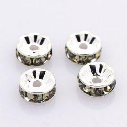 Rondell, rondella. Köztes gyöngy, kristályokkal. 7mm. Szürke.