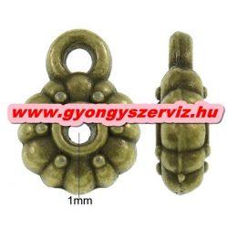 Charm tartó, medál tartó, köztes fémgyöngy. Antik bronz szín. 8x12x3mm