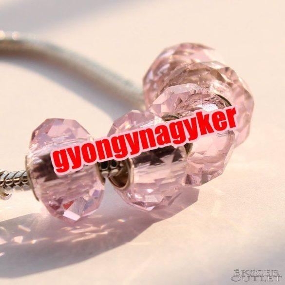 Pandora stílusú üveg gyöngy. csiszolt. Rózsaszín. Leárazva!
